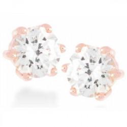 Pendientes Plata, Oro Rosa Y Cz - EH028R0000
