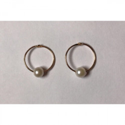 Pendiente Aro con perla Oro de 1ª Ley 750 mlm 1.5 mm
