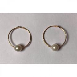Pendiente Aro con perla Oro de 1ª Ley