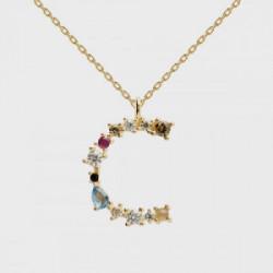 Collar P D PAOLA CO01-098-U, es de plata con baño de oro de 18k, con piedras multicolor, letra C.Este collar P D PAOLA es de c