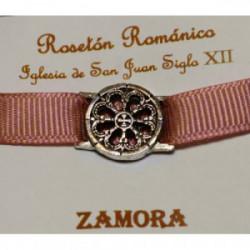 Pulsera Rosetón Latón con Cinta Rosa