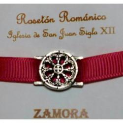 Pulsera Rosetón Latón con Cinta Fusia