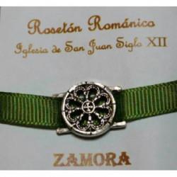 Pulsera Rosetón Latón con Cinta Verde Clara