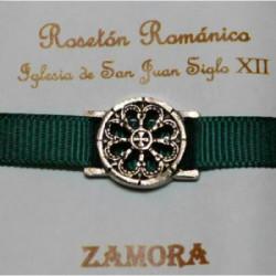 Pulsera Rosetón Latón con Cinta Verde Oscura