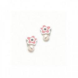 Pendiente Tu y yo flor rosa perla plata - 075NBE