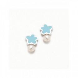 Pendiente Tu y yo nube azul perla plata - 065NBE