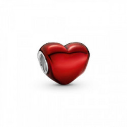 Heart sterling silver charm with red ena - 799291C02