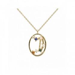 Collar Pd Paola horóscopo plata chapada - CO01-350-U