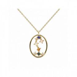 Collar Pd Paola horóscopo plata chapada - CO01-351-U
