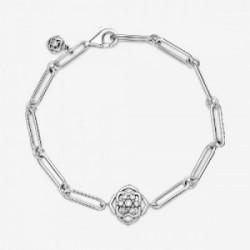 Rose flower sterling silver bracelet wit - 599409C01-16