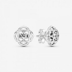 Rose flower sterling silver stud earring - 299371C01