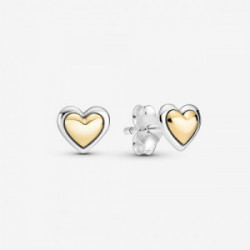 Heart sterling silver and 14k gold stud  - 299389C00