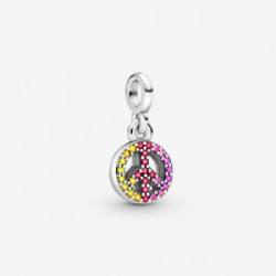 Peace sign sterling silver dangle with c - 799424C01