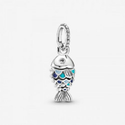 Fish sterling silver dangle with clear c - 799428C01