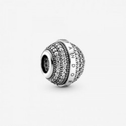 Pandora logo sterling silver charm with  - 799489C01