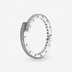 Pandora logo sterling silver ring with c - 199491C01-52