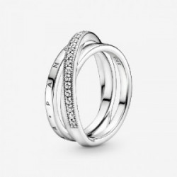 Pandora logo sterling silver ring with c - 199057C01-54