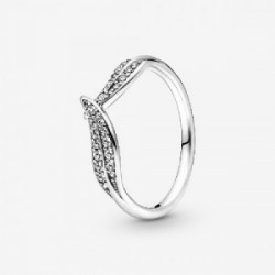 Leaves sterling silver ring with clear c - 199533C01-52