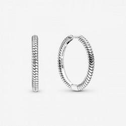 Snake chain pattern sterling silver hoop - 299532C00