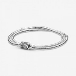 Double snake chain sterling silver brace - 599544C01-D18